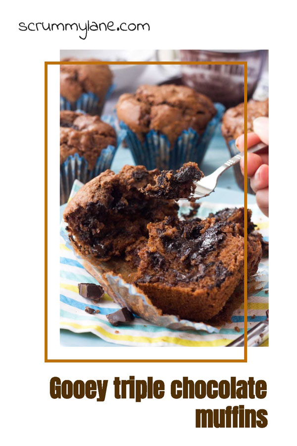Pinterest image of gooey triple chocolate muffin with soft centre