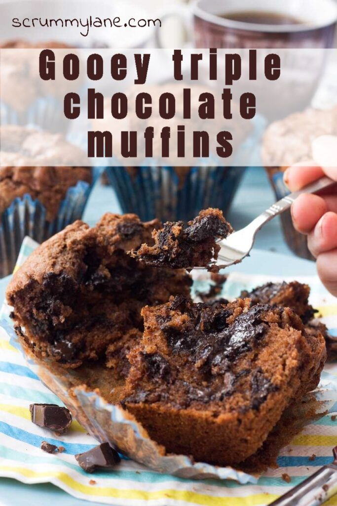 Pinterest image of triple chocolate muffin with a gooey centre being eaten with a fork