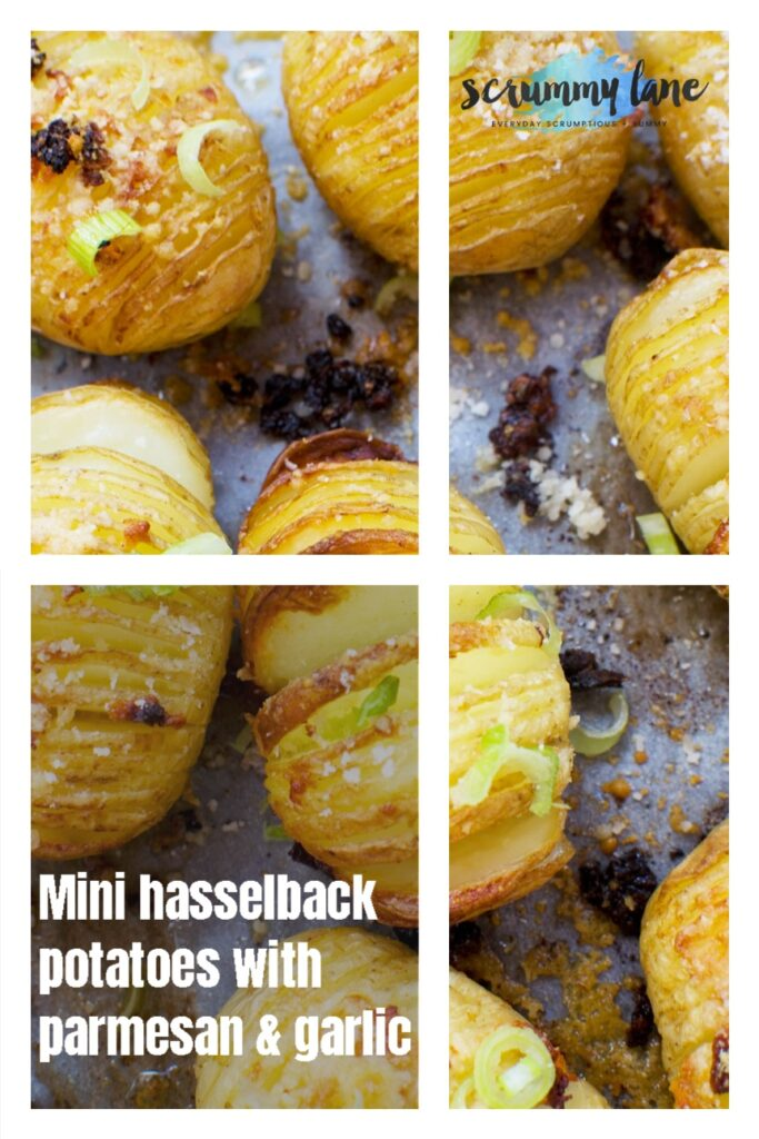 Pinterest image of person holding bowl of parmesan garlic hasselback potatoes