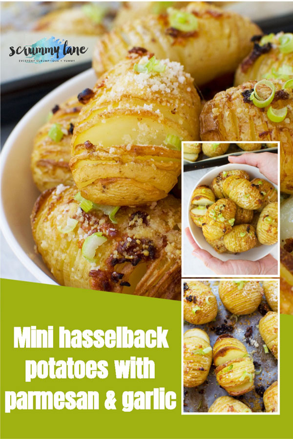 Pinterest image with a collage of mini parmesan and garlic hasselback potatoes