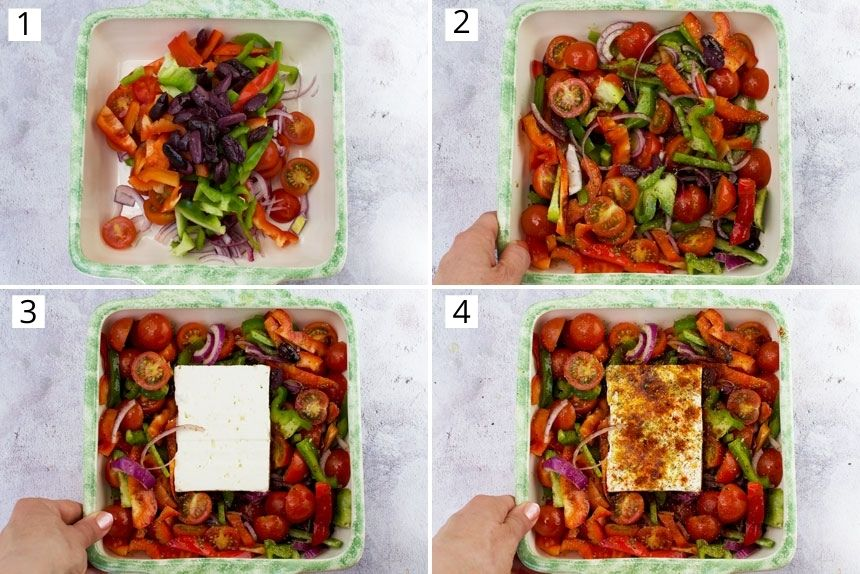 A collage of 4 images showing how to assemble baked feta with tomatoes, peppers and olives for the oven