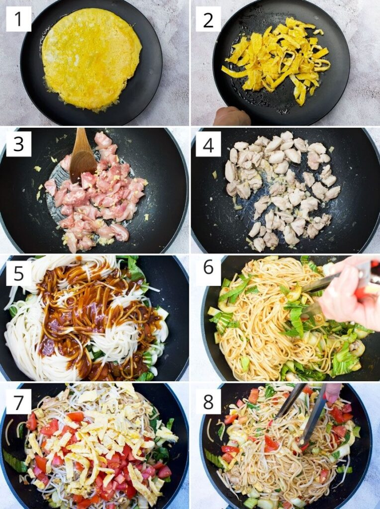 A collage showing how to make mee goreng or spicy Indonesian noodles (1-2: cooking egg, 3-4: cooking the chicken, 5-8: adding the sauce and other ingredients)