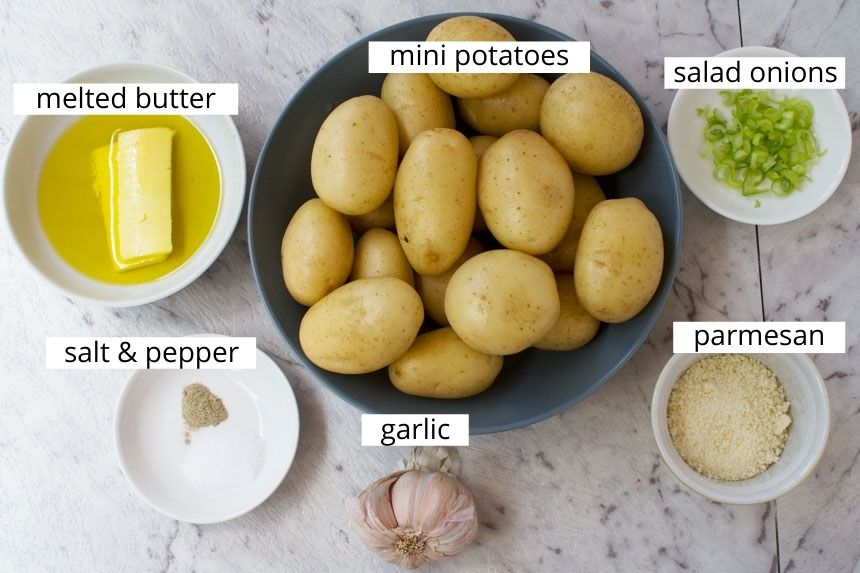 Ingredients to make mini parmesan garlic hasselback potatoes