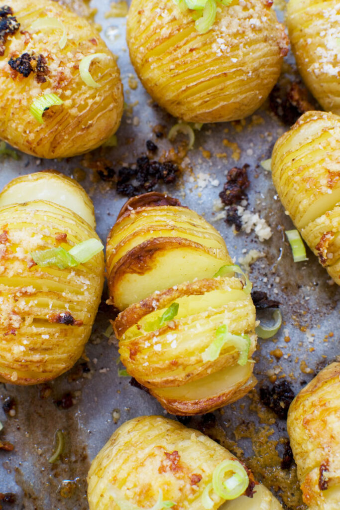 Mini parmesan and garlic hasselback potatoes