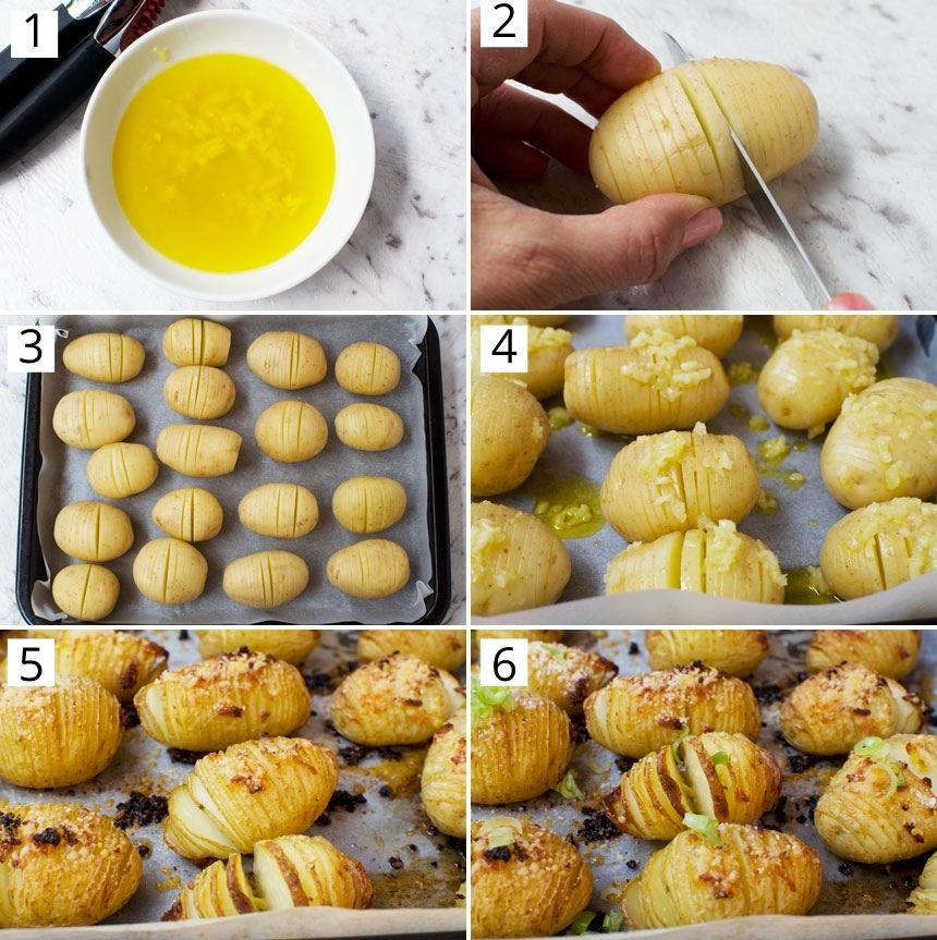 Collage of images showing how to make mini hasselback potatoes