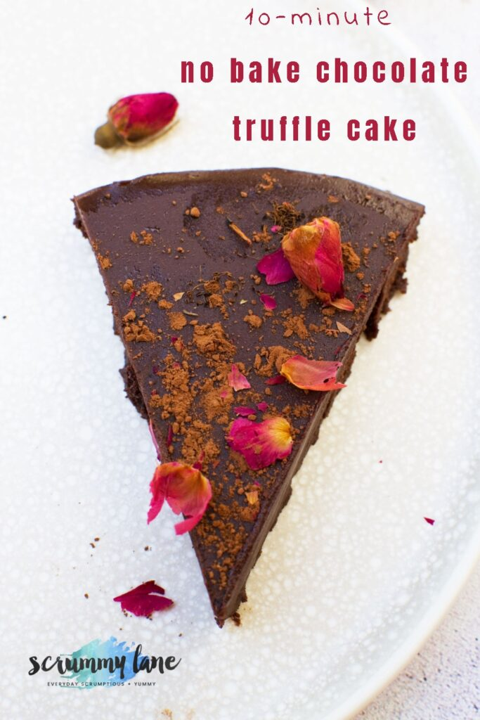 Slice of no bake chocolate truffle cake from above with title text on it