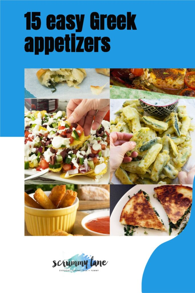 A collage of Greek appetizers with title on it: 15 easy Greek appetizers for Pinterest