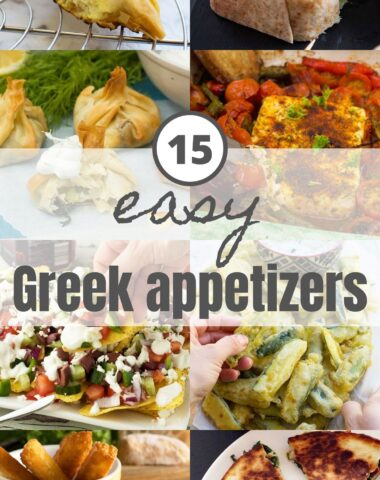 A collage of 8 small images showing 8 easy Greek appetizers for Pinterest