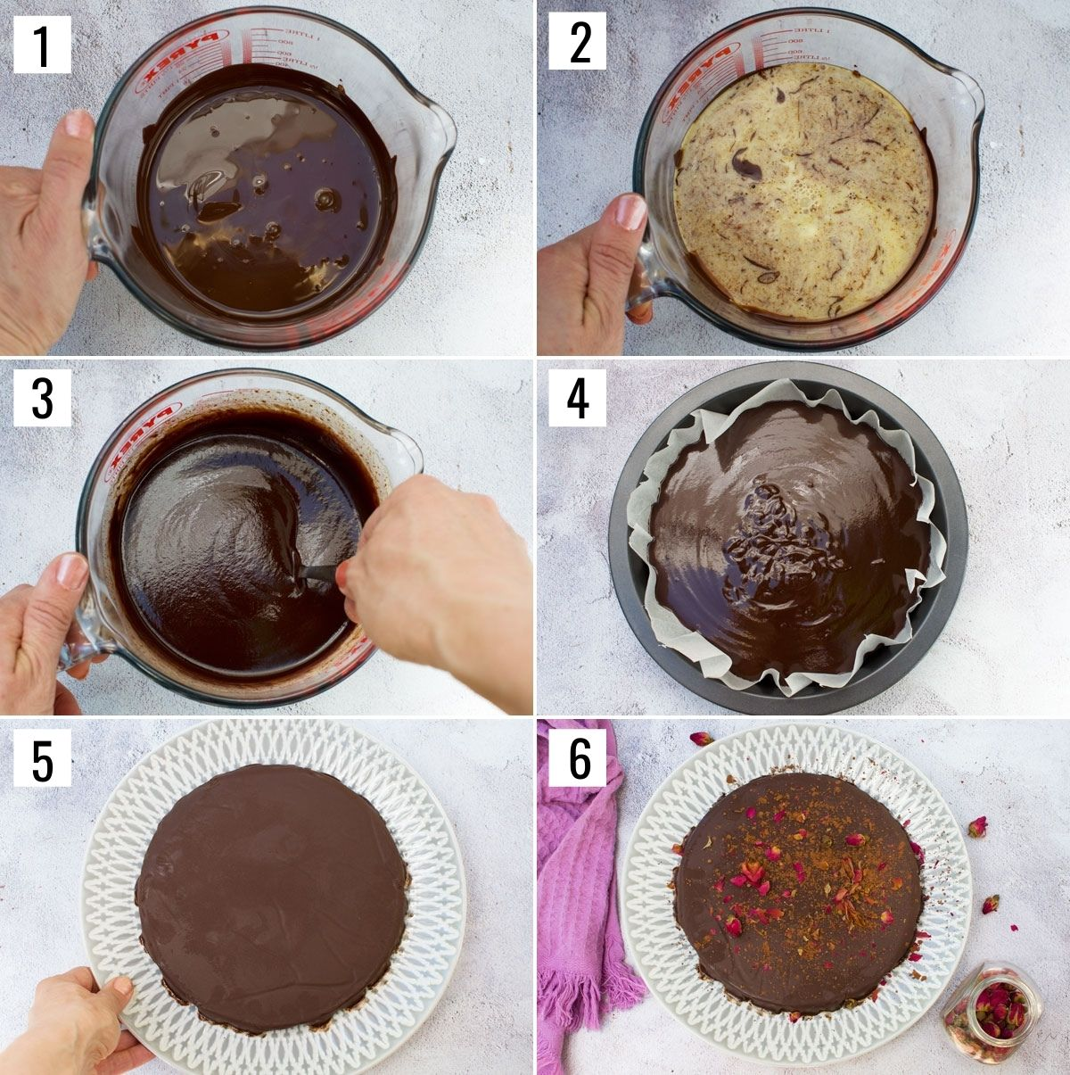 Series of 6 process images showing how to make a no bake chocolate truffle cake: Melt chocolate, add warm cream and butter to it, Add salt and rosewater and stir, pour into baking pan, let set in fridge, decorate with rose buds.