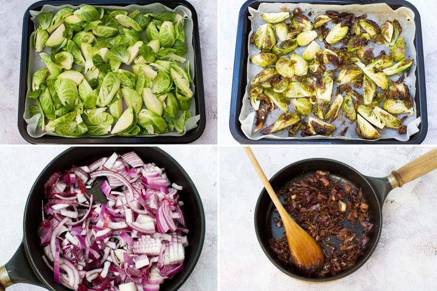 A collage of 4 process shots showing how to make honey balsamic brussels sprouts with pine nuts and feta