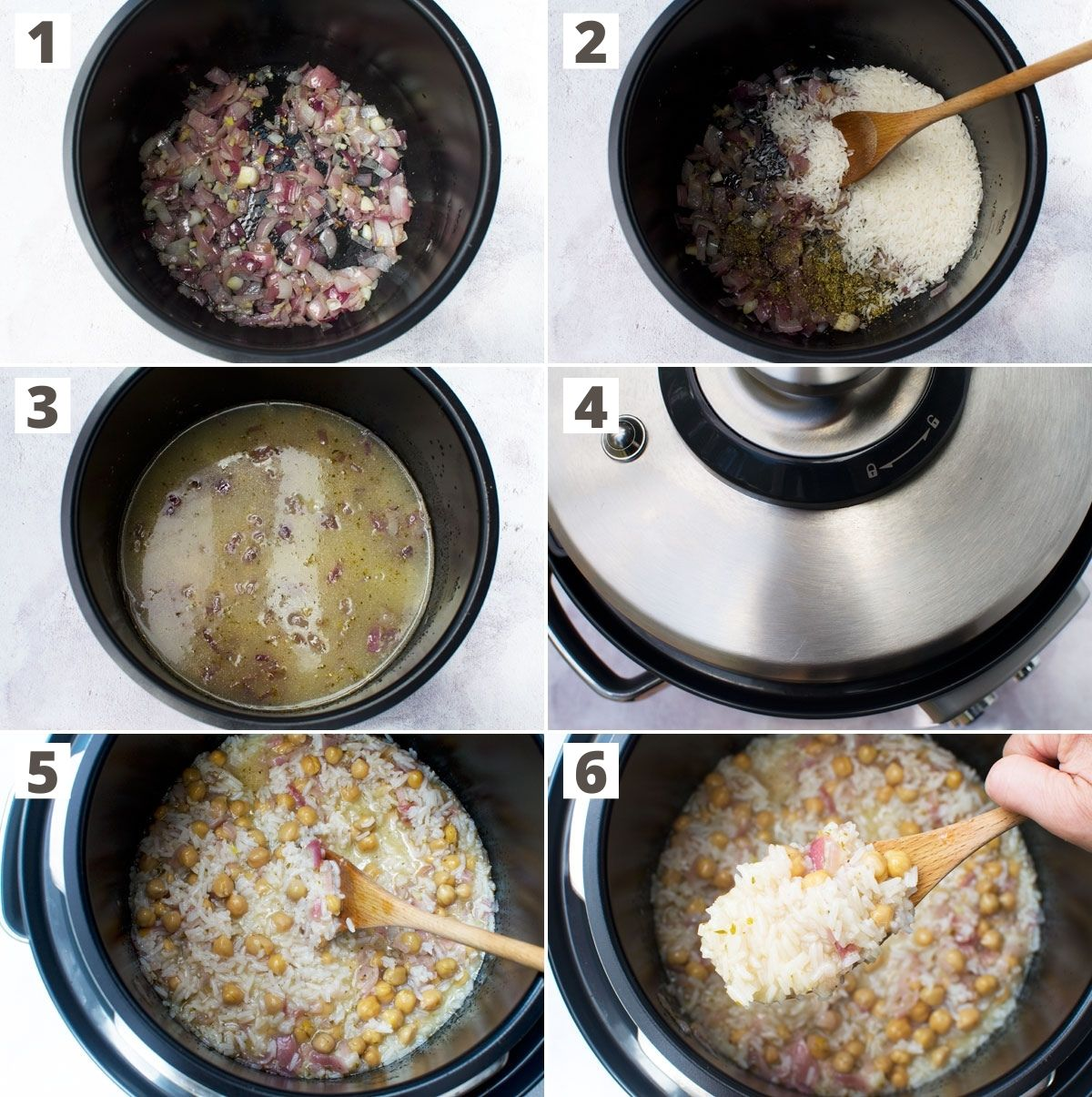 6 images showing how to make Mediterranean rice with chickpeas