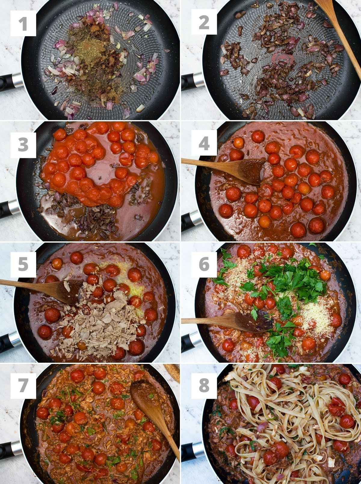 A numbered collage of 8 photos showing how to make lemony tuna spaghetti. Photos show cooking onions with spices, adding tomatoes and simmering, then adding the rest of the ingredients including the pasta to the pan