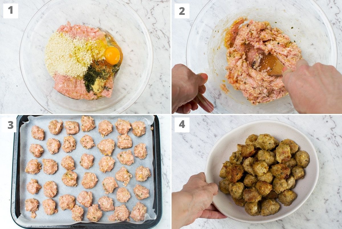 How to make air fryer Greek meatballs in 4 images: mix together ground meat, crumbs, an egg and spices, mix together, roll into bite-sized balls, and a dish of the finished meatballs