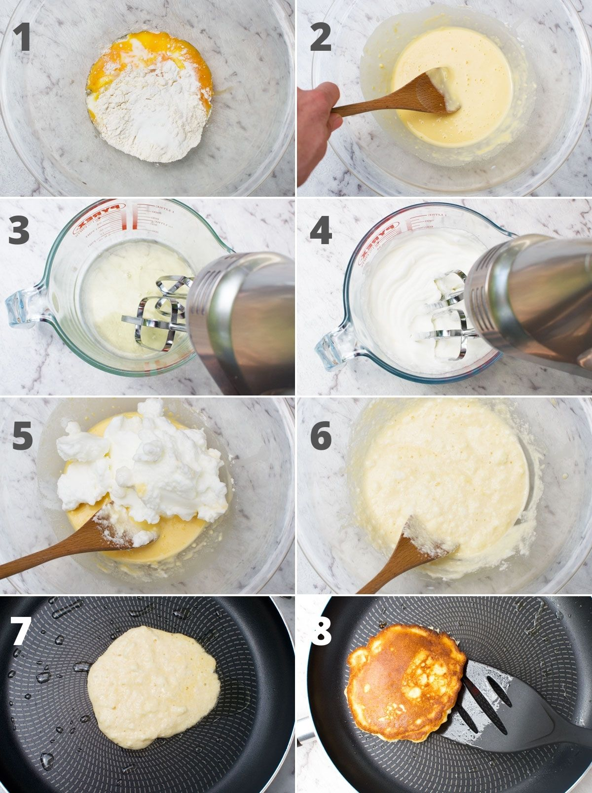 8 small images showing the steps to making the batter for banana pancakes. The main difference to regular pancakes is whisking egg whites to add to the batter.