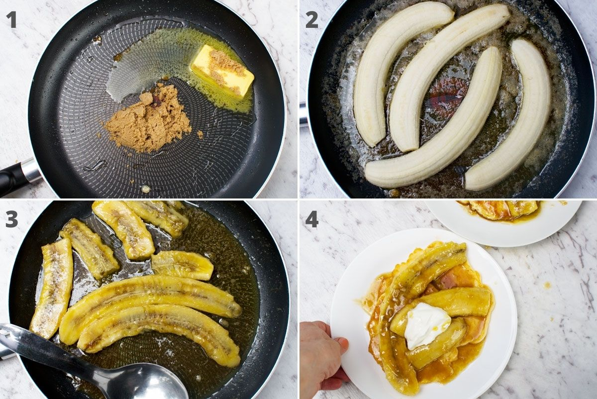4 images showing how to caramelise bananas for banana pancakes: melt brown sugar and butter, add bananas halved lengthwise, let cook, serve.
