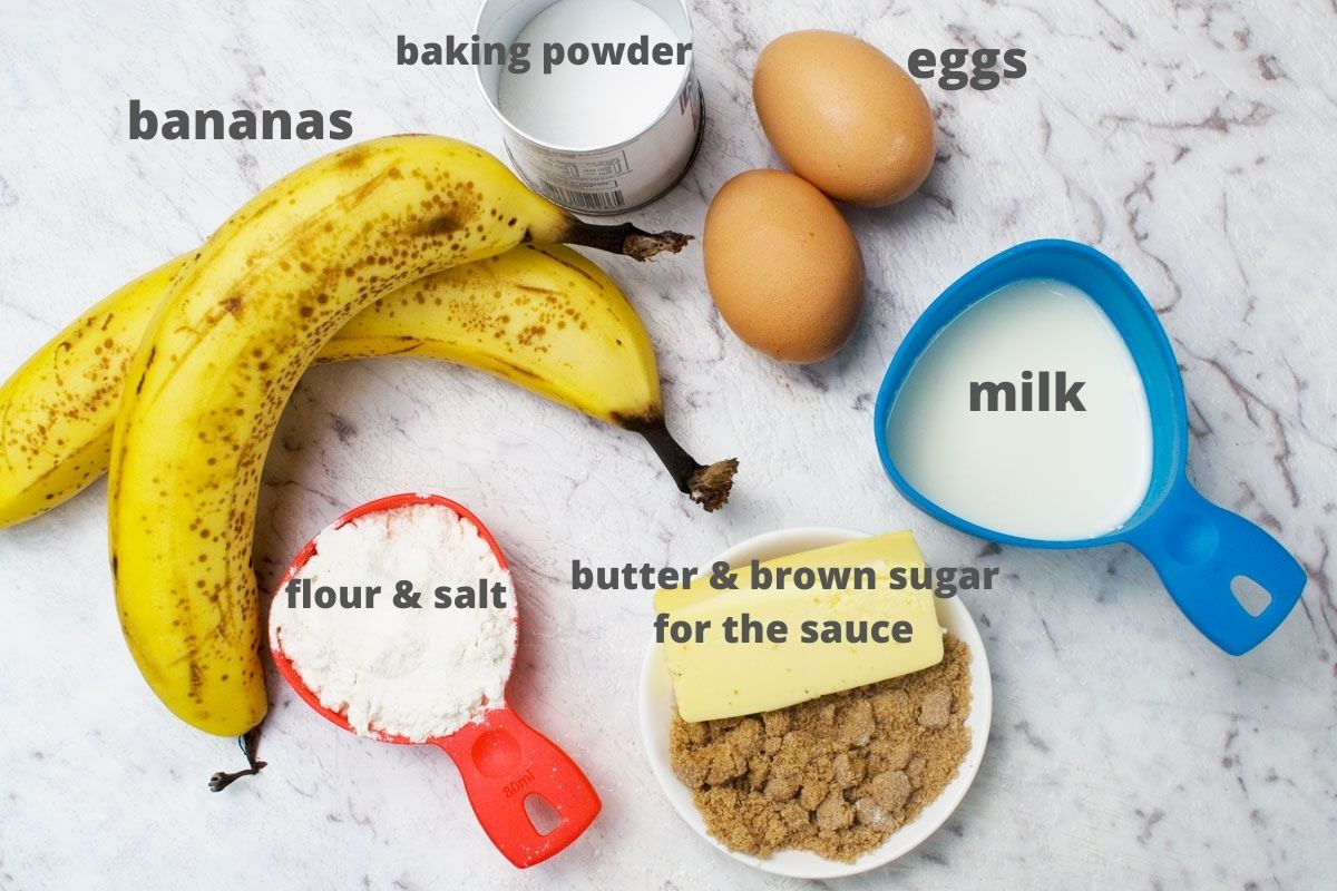 Ingredients for making caramelised banana pancakes: bananas, baking powder, eggs, milk, flour and salt, butter and brown sugar for the caramelised bananas