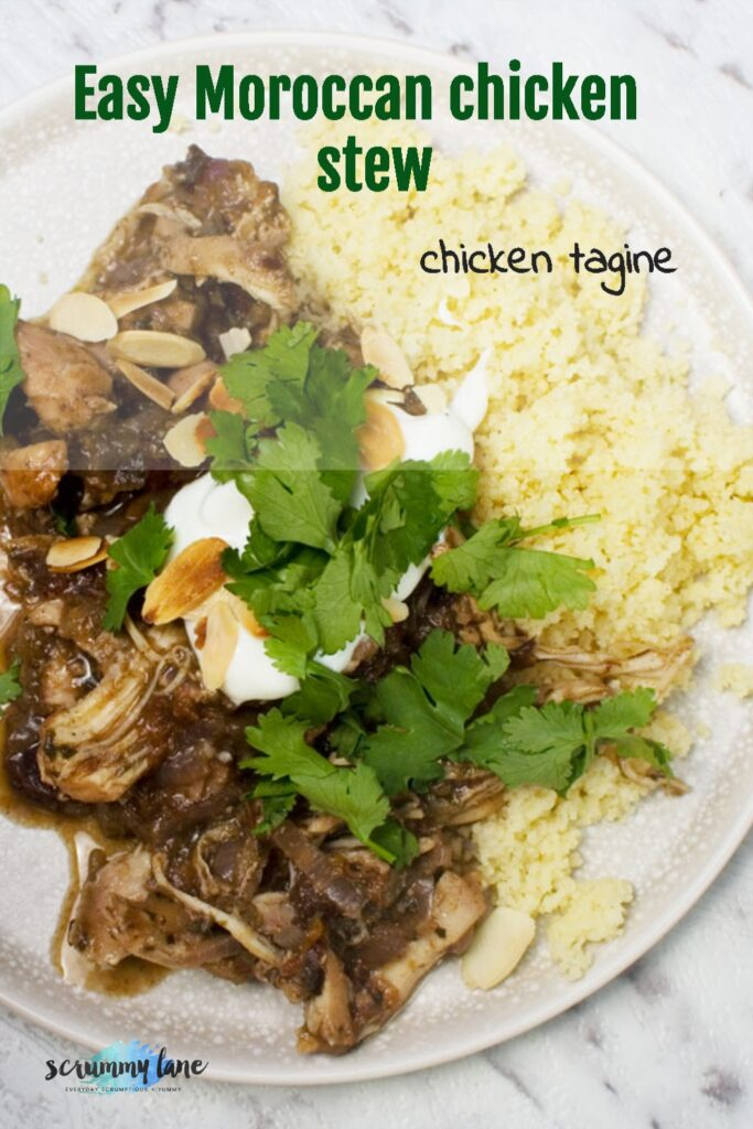 An overhead shot of a plate of Moroccan chicken stew or chicken tagine with couscous and garnished with coriander and yoghurt - with title on for Pinterest