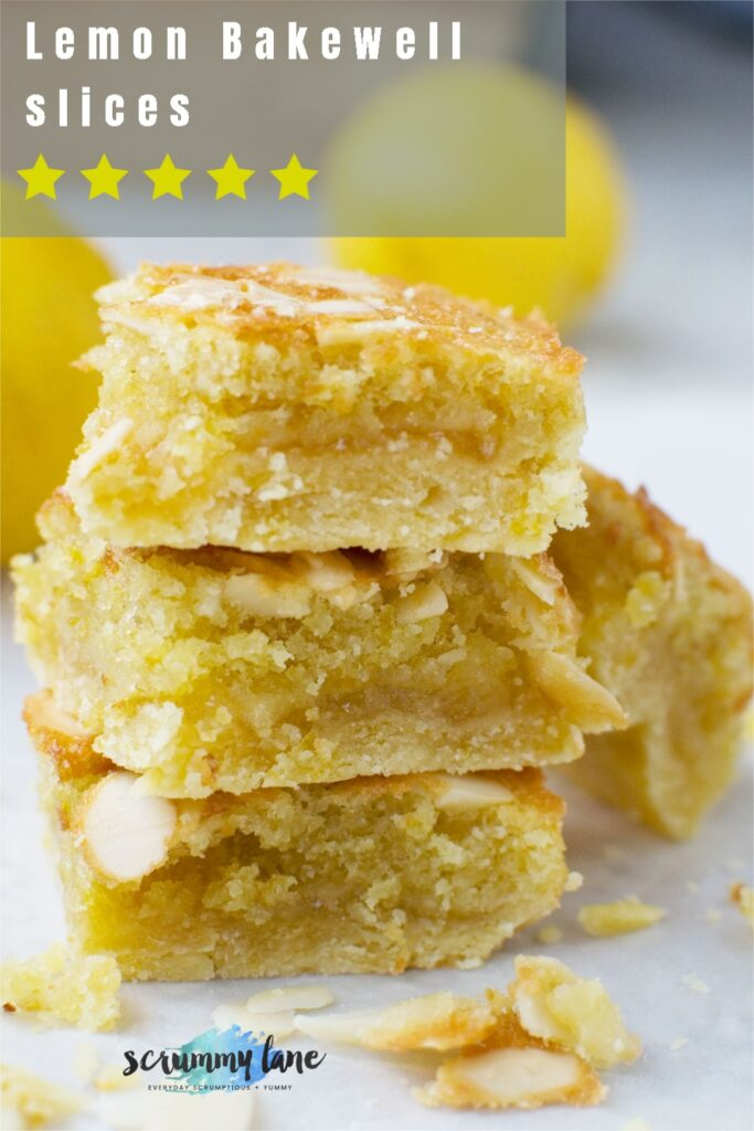 A stack of lemon bakewell slices with a title on it and 5 stars for Pinterest