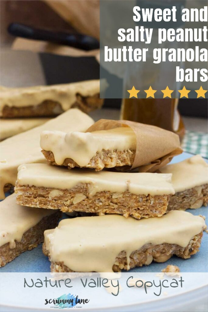 A close up of a stack of sweet and salty peanut butter granola bars with a title on it for Pinterest
