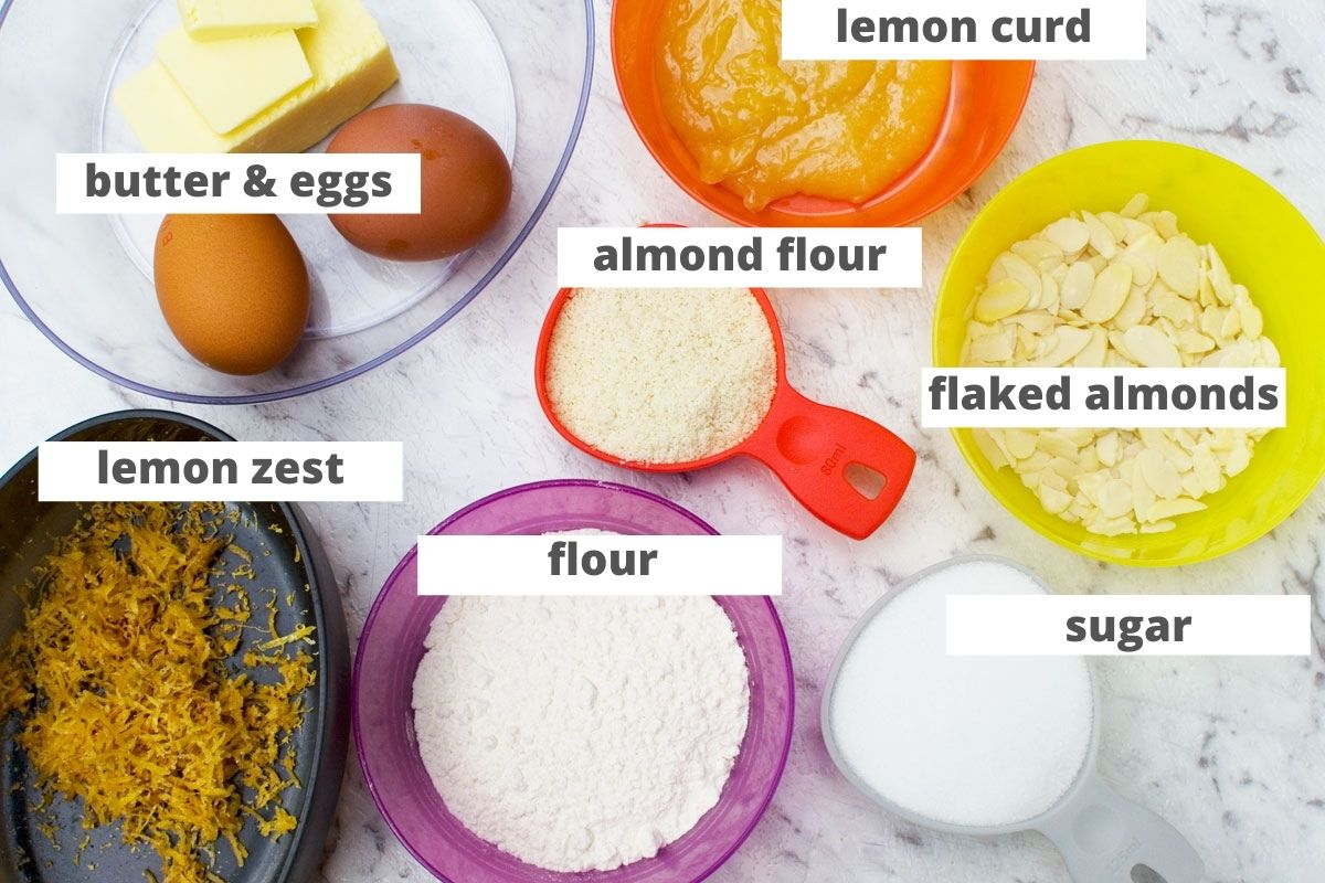 Ingredients for lemon bakewell slices frangipane layer