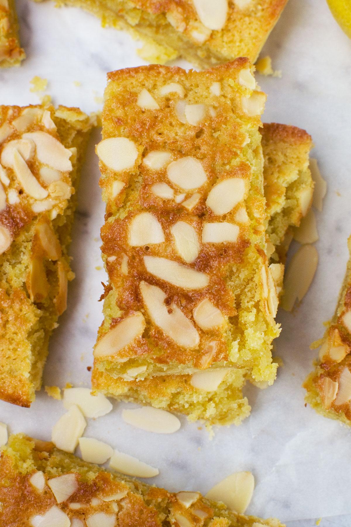 Lemon bakewell slices from above