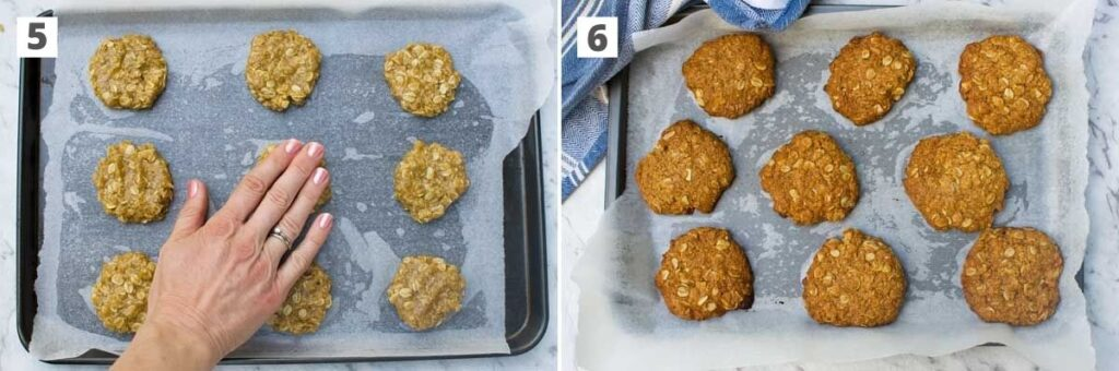 2 images side by side showing Anzac biscuits on a baking tray before and after baking