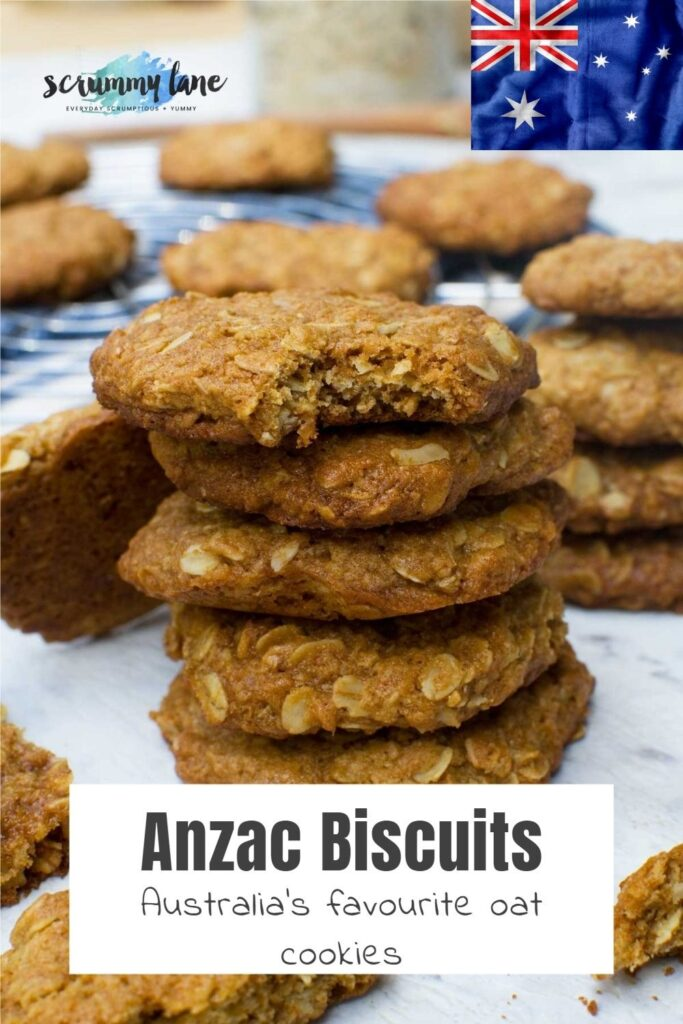 A stack of Anzac biscuits with a title on the photo and an Australian flag in the corner