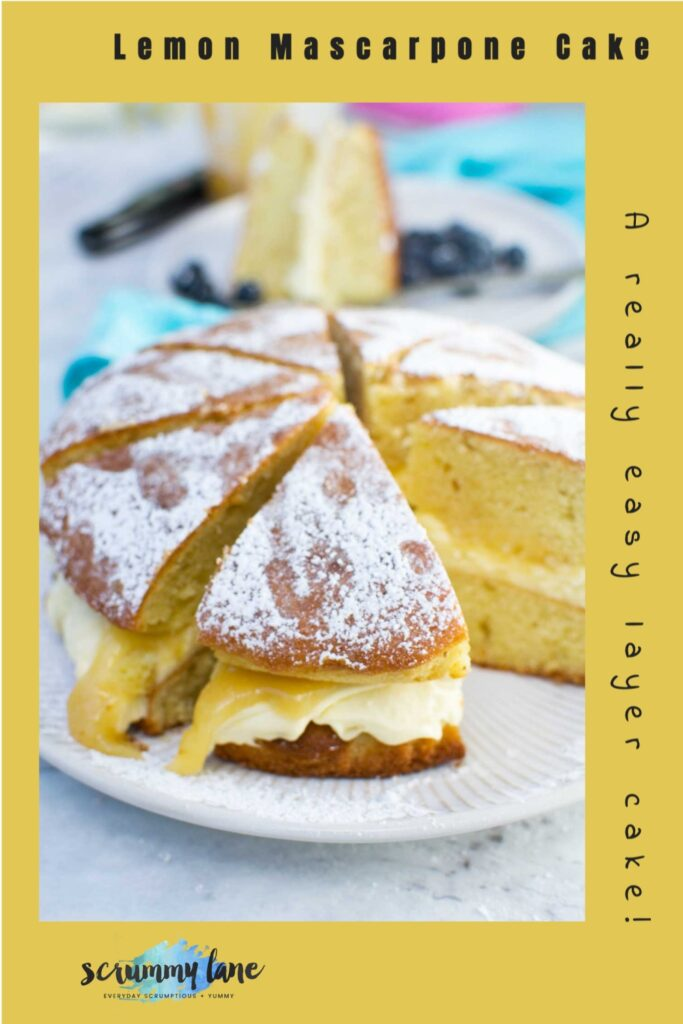 A whole lemon mascarpone cake sliced with a yellow background and a title on it for Pinterest