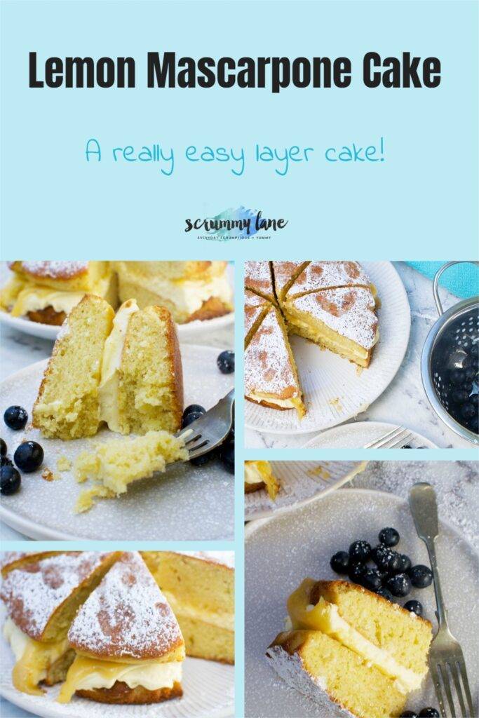 A collage of photos of lemon mascarpone cake with a title at the top for Pinterest