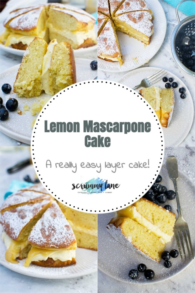 Photos of lemon mascarpone cake from different angles with a title in a circle in the middle - pin for Pinterest