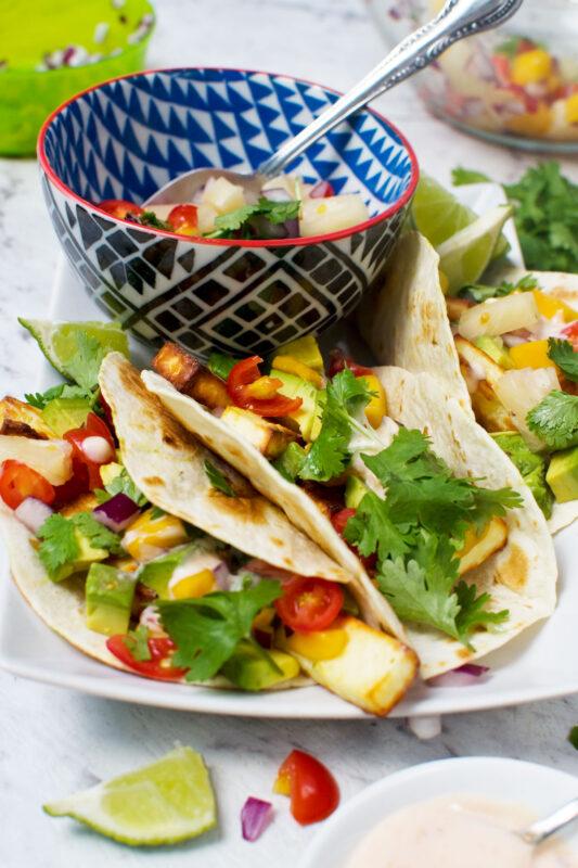 Halloumi Tacos With Pineapple Mango Salsa