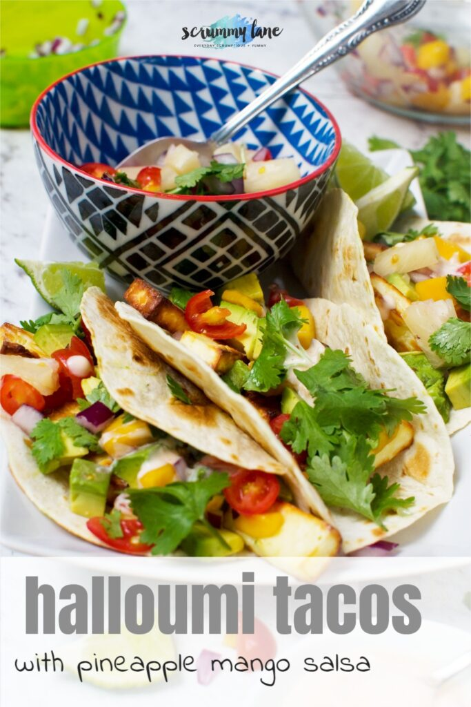 3 halloumi tacos with pineapple mango salsa from above with a title on for Pinterest
