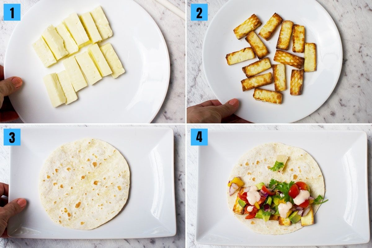 4 images showing how to assemble halloumi tacos with pineapple mango salsa