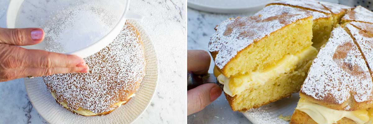 2 images side by side of someone sprinkling icing sugar over a cake and then taking a slice out of the whole cake.