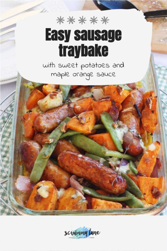Sausage traybake with sweet potatoes from above with a green checked background and with a title on it for Pinterest