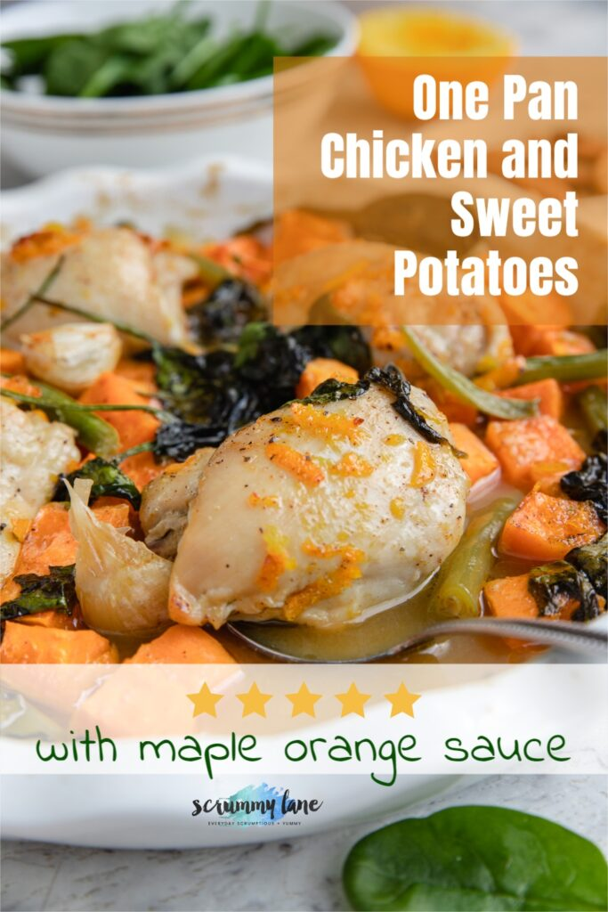 A closeup of a spoon holding up a chicken thigh with sweet potatoes and maple orange sauce with title text on it for Pinterest