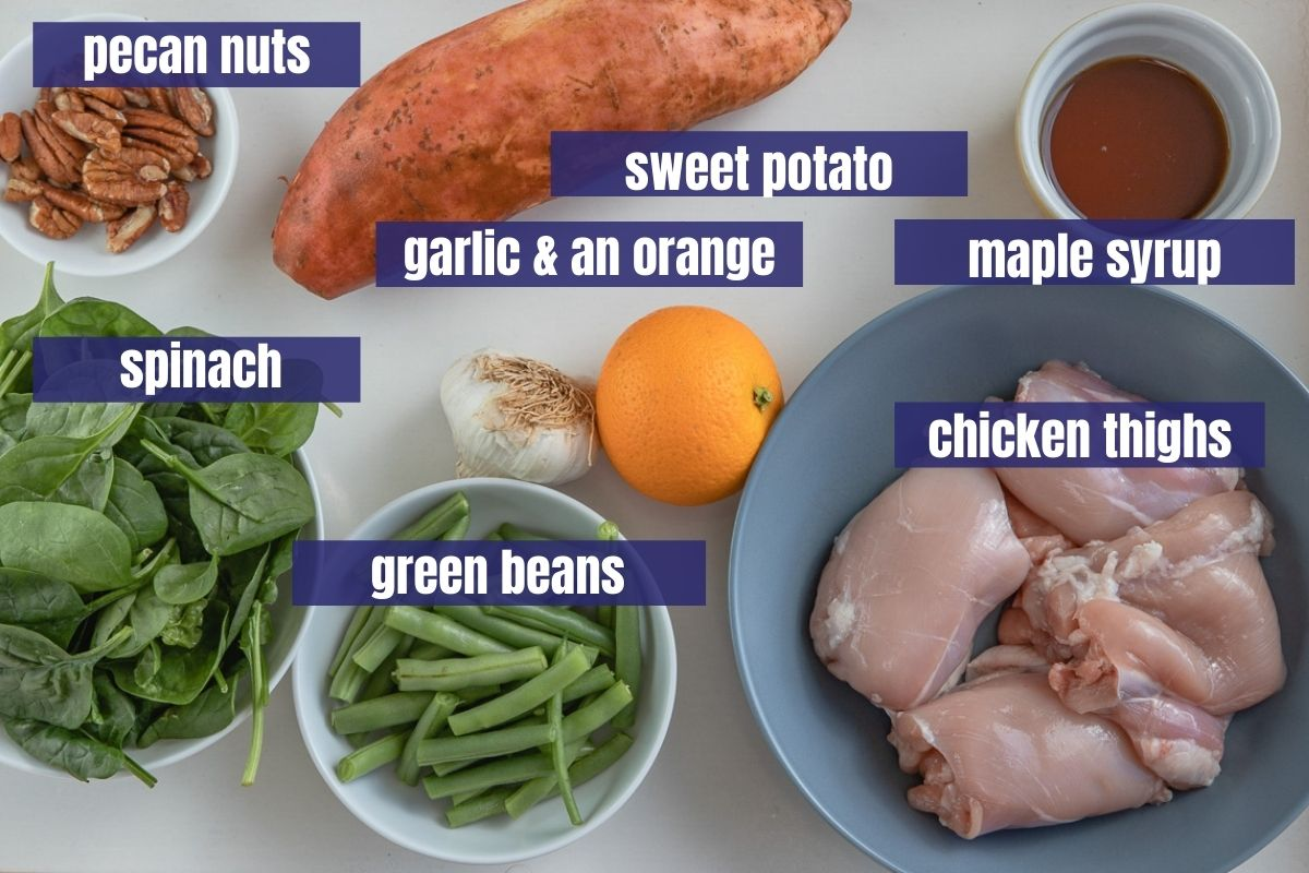 Ingredients for chicken and sweet potatoes with maple orange sauce
