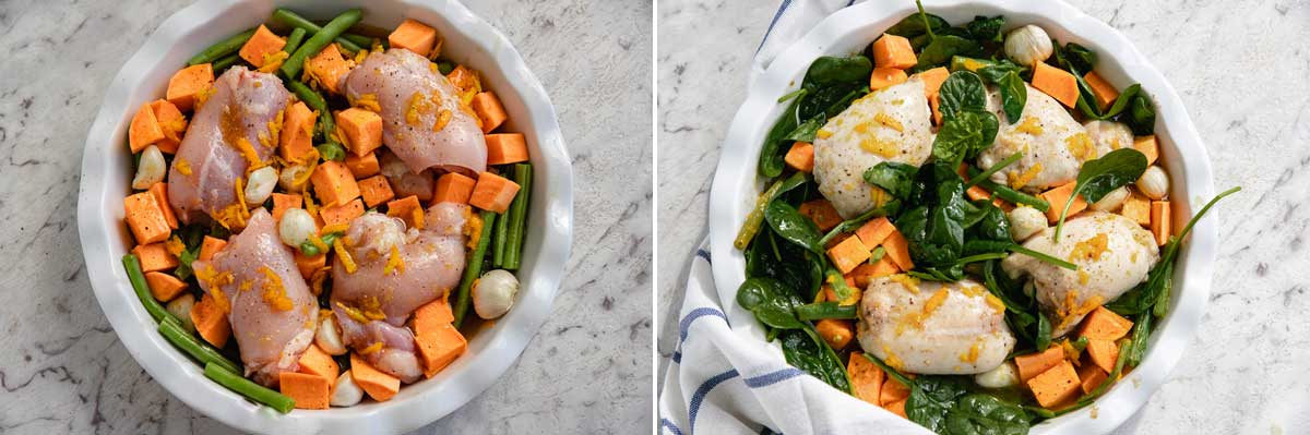 Collage of 2 images showing the ingredients for making chicken and sweet potatoes with maple orange sauce before and after adding the spinach