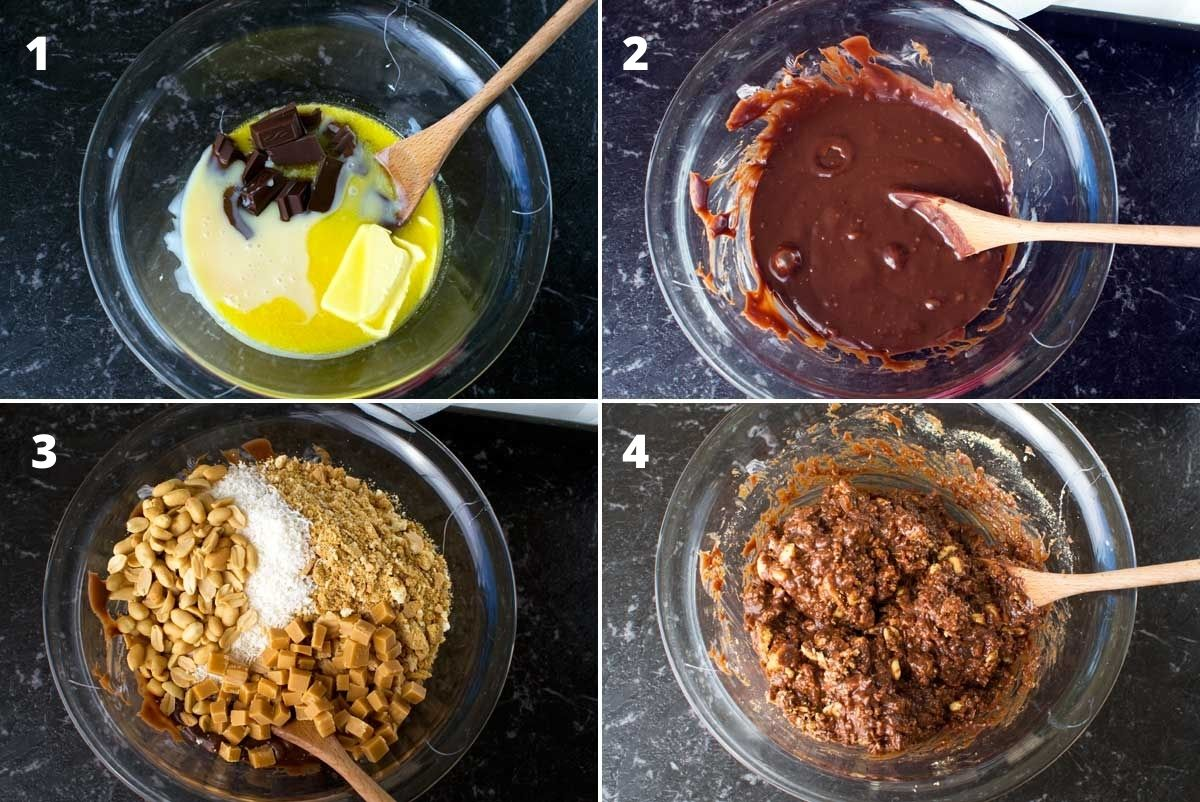 Collage of 4 images showing how to melt the ingredients together to make Hedgehog slice
