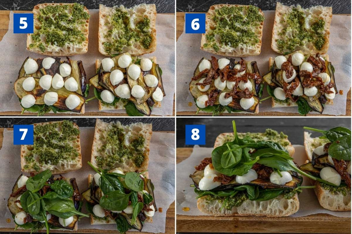 Collage of 4 images showing piling ingredients onto a veggie sandwich with eggplant
