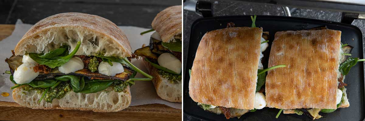 Collage of 2 images showing a sandwich ready for a panini press