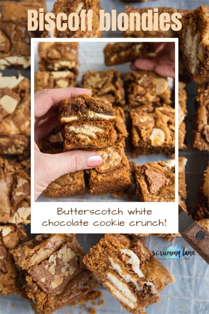 Someone holding 2 Biscoff blondies up so you can see the inside above a whole pan of them. There are 2 images one on top of the other and a title on them for Pinterest.
