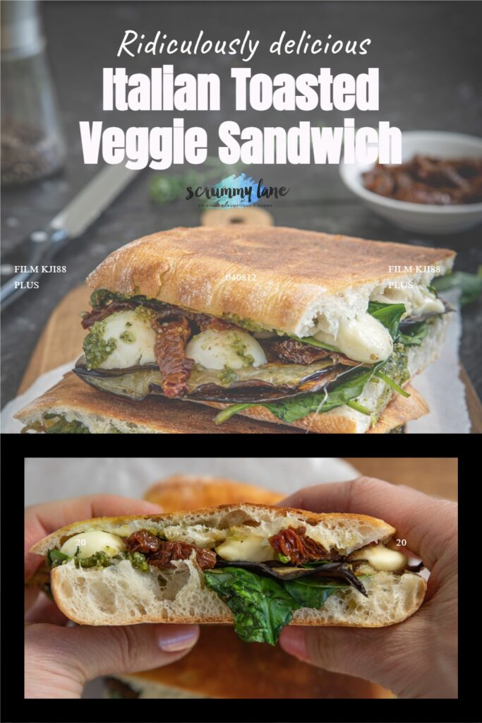2 images of a toasted veggie sandwich, one stacked on a wooden board and the other closeup while someone holds it up and with title for Pinterest