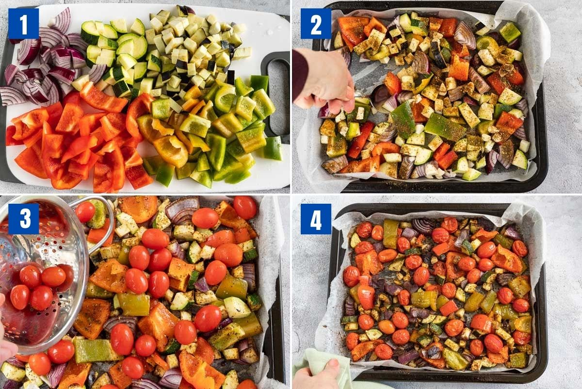 collage of 4 images showing how to prepare, season and roast Mediterranean roast vegetables