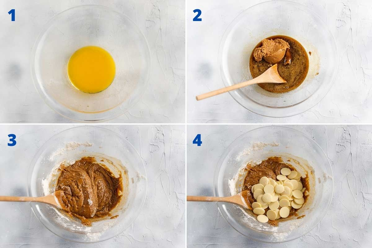 Collage of 4 images showing the first 4 steps to making Biscoff blondies starting with melted butter and then adding in all the other ingredients