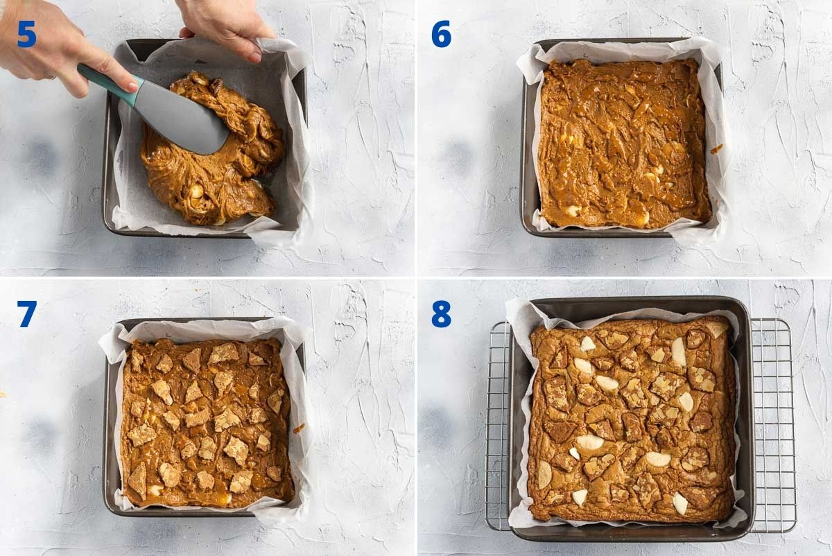 Collage of 4 images showing the last steps to making Biscoff blondies: Smoothing the batter into the pan, decorating and baking