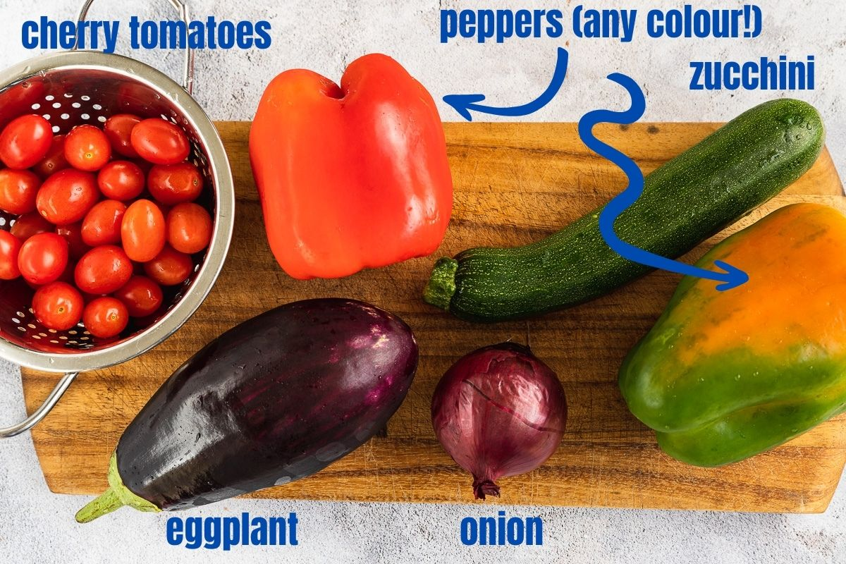 Labelled vegetables used to make Mediterranean roast vegetables: tomatoes, peppers, eggplant, onion, zucchini