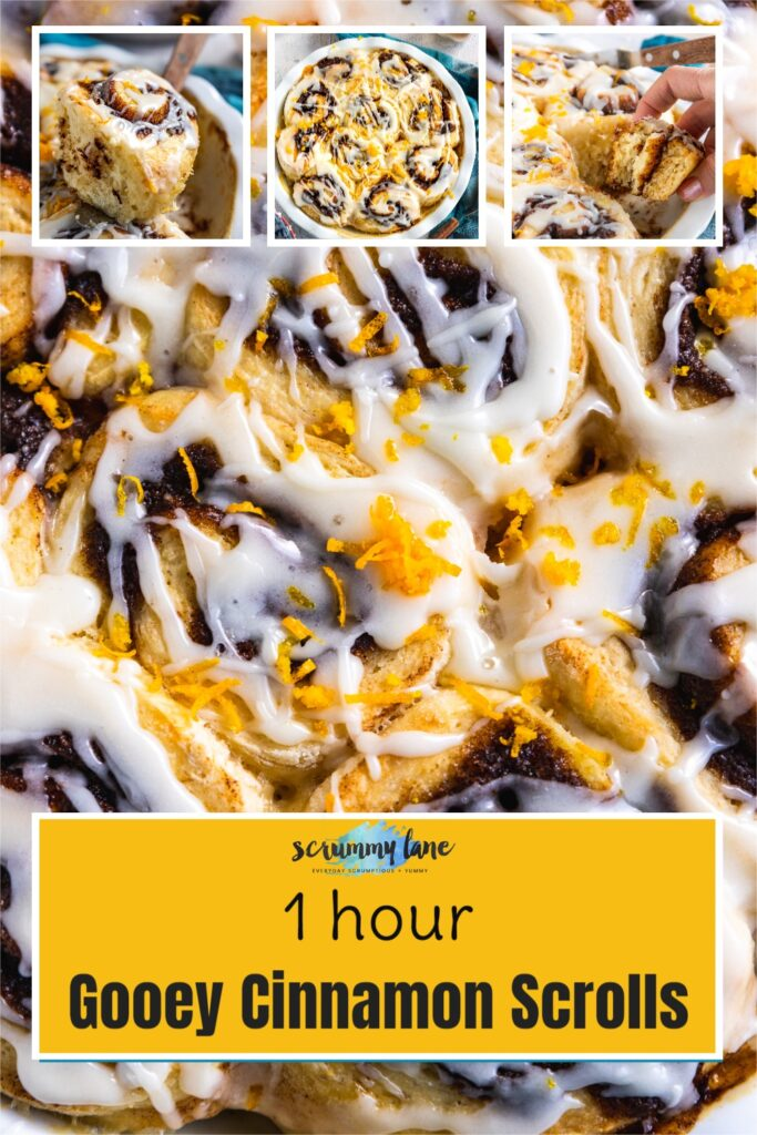 Closeup of cinnamon scrolls with 3 more collage images above and with a title on for Pinterest