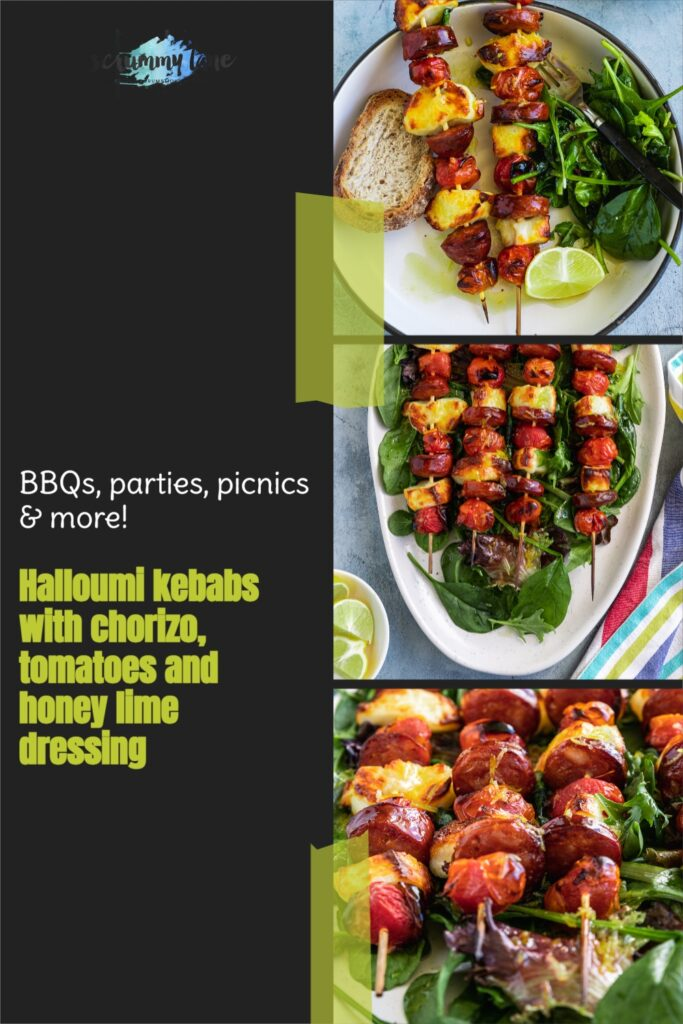 3 different images of halloumi kebabs with honey lime dressing with a title on a black background for Pinterest