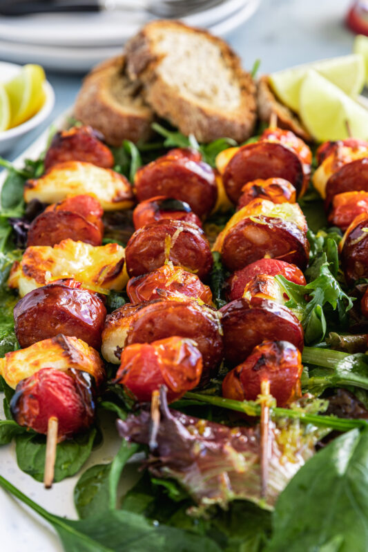 Halloumi Kebabs With Chorizo, Tomatoes And Honey Lime Dressing